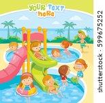 kids swimming in aqua park | Shutterstock .eps vector #599675252