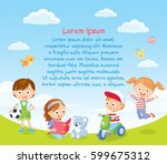 summer background with playing... | Shutterstock .eps vector #599675312