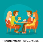 group of friends have lunch | Shutterstock .eps vector #599676056