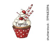 hand drawn cupcake with... | Shutterstock .eps vector #599682896