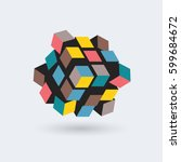 abstract 3d cube  team building ... | Shutterstock .eps vector #599684672