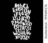 english alphabet. black and... | Shutterstock . vector #599685176
