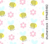cute hand drawn seamless... | Shutterstock .eps vector #599685482