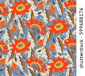 vector hand painted floral... | Shutterstock .eps vector #599688176