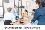 group of five creative worker... | Shutterstock . vector #599689496