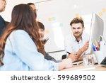 group of five creative worker... | Shutterstock . vector #599689502