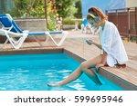 happy smartphone woman relaxing ... | Shutterstock . vector #599695946