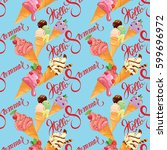seamless pattern with ice cream ... | Shutterstock . vector #599696972