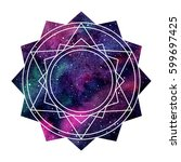 geometric cosmic mandala... | Shutterstock .eps vector #599697425