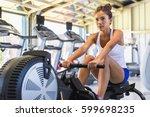 workout woman cross training...   Shutterstock . vector #599698235