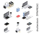 flat 3d isometric icons  ... | Shutterstock .eps vector #599698262