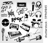 some music doodles | Shutterstock .eps vector #59969845