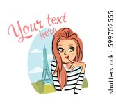 pretty girl at paris | Shutterstock .eps vector #599702555