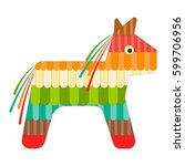 mexican pinata isolated on... | Shutterstock . vector #599706956