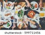 top view of best friends...   Shutterstock . vector #599711456