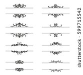 vector  set of calligraphic... | Shutterstock .eps vector #599715542