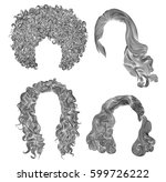 set  different curly hairs . ... | Shutterstock .eps vector #599726222