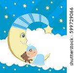 cute little boy sleeping on moon | Shutterstock . vector #599729066