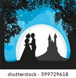magic castle and princess with... | Shutterstock .eps vector #599729618
