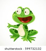 cute green cartoon frog... | Shutterstock .eps vector #599732132