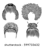 set  women hairs . fringe ... | Shutterstock .eps vector #599733632
