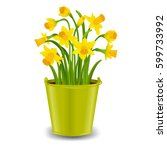 narcissus in pot with gradient... | Shutterstock .eps vector #599733992