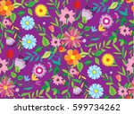 pattern doodle spring.... | Shutterstock .eps vector #599734262