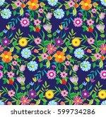 pattern doodle spring.... | Shutterstock .eps vector #599734286