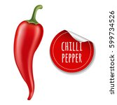 hot chilli pepper with gradient ... | Shutterstock .eps vector #599734526