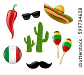 mexican set with gradient mesh  ... | Shutterstock .eps vector #599734628