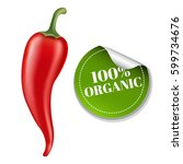 chilli pepper with label with... | Shutterstock .eps vector #599734676