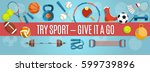 set of sport balls and gaming... | Shutterstock .eps vector #599739896