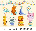 circus animals decorative icons ... | Shutterstock .eps vector #599739902