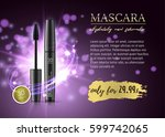 luxury mascara ads  black and... | Shutterstock .eps vector #599742065