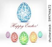 happy easter design elements.... | Shutterstock .eps vector #599744672