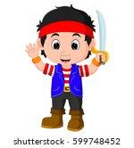 vector illustration of kid boy...   Shutterstock .eps vector #599748452