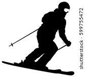 mountain skier speeding down... | Shutterstock . vector #599755472