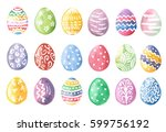 happy easter. watercolor set of ... | Shutterstock . vector #599756192