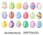 happy easter. watercolor set of ...   Shutterstock . vector #599756192