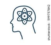 atom sign inside human head...   Shutterstock .eps vector #599757842