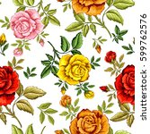 Seamless Pattern With Roses Fo...