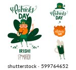 sticker with gnome beer... | Shutterstock .eps vector #599764652