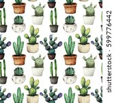 cactus in pots watercolor... | Shutterstock . vector #599776442