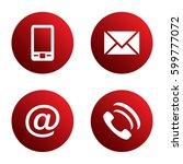 vector icon set  red spherical... | Shutterstock .eps vector #599777072
