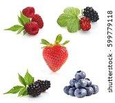 berries on white background  ... | Shutterstock . vector #599779118