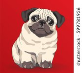 lovely pug puppy. cartoon... | Shutterstock .eps vector #599781926
