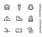 camping  hiking icons set in... | Shutterstock .eps vector #599785865