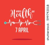 wold health day heartbeat and... | Shutterstock .eps vector #599792018