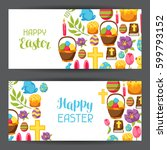 happy easter banners with... | Shutterstock .eps vector #599793152
