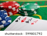 poker four aces on green casino ... | Shutterstock . vector #599801792